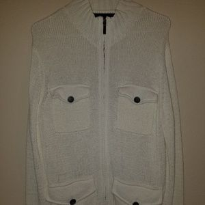 Kenneth Cole Off White Zippered Sweater